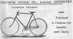 1895 advertisement for a Triumph solo bicycle, courtesy of the Veteran-Cycle Club