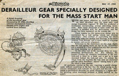 1950 review of a derailleur for the 'Mass Start Man'